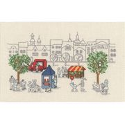 Village Park Scene - Permin Cross Stitch Kit