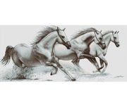 Luca-S White Horses Cross Stitch Kit