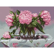 Luca-S Vase of Peonies Cross Stitch Kit