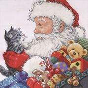 Design Works Crafts Santa with Kitten Christmas Cross Stitch