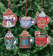 Christmas Cocoa Mug Ornaments - Janlynn Cross Stitch Kit