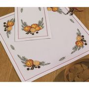 Permin Orange and Cloves Tablecloth White Christmas Cross Stitch Kit