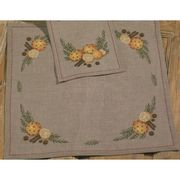 Permin Orange and Cloves Tablecloth Linen Christmas Cross Stitch Kit