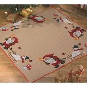 Santa and Snowman Tree/Gift Mat - Permin Cross Stitch Kit