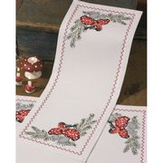 Bullfinch and Toadstool Runner - Permin Cross Stitch Kit