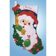 Design Works Crafts Holly Santa Stocking Christmas Craft Kit