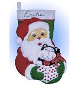 Design Works Crafts Santa and Kitten Stocking Christmas Craft Kit