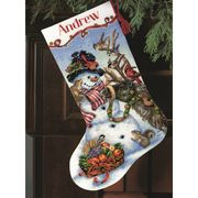 Dimensions Snowman Gathering Stocking Cross Stitch Kit