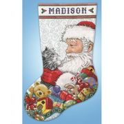 Design Works Crafts Santa and Kitten Stocking Cross Stitch