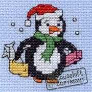 Christmas Shopping Penguin - Mouseloft Cross Stitch Card Design