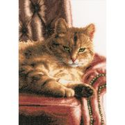 Lanarte Cat on Sofa - Aida Cross Stitch Kit