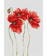 Luca-S Four Poppies Cross Stitch Kit