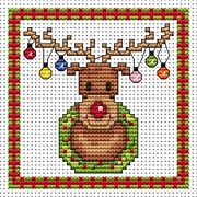 Rudolf Lights Card - Fat Cat Cross Stitch Card Design