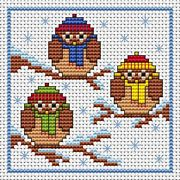 Christmas Owls Card - Fat Cat Cross Stitch Card Design