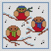 Rockin' Robins Card - Fat Cat Cross Stitch Card Design