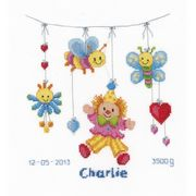Vervaco Clown Delight Birth Record Birth Sampler Cross Stitch Kit