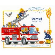 Vervaco Fire Engine Birth Record Birth Sampler Cross Stitch Kit