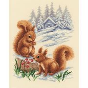 Winter Squirrels - Vervaco Cross Stitch Kit