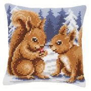 Winter Squirrels Cushion - Vervaco Cross Stitch Kit