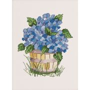 Permin Blue Hydrangea Cross Stitch Kit