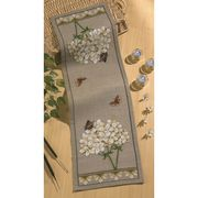 White Hydrangea Runner - Permin Cross Stitch Kit