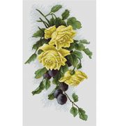 Luca-S Yellow Roses with Plums Cross Stitch Kit