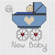 New Baby Card - Boy - Fat Cat Cross Stitch Kit