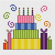 Striped Cake Card - Fat Cat Cross Stitch Kit