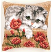 Kitten and Roses Cushion - Vervaco Cross Stitch Kit