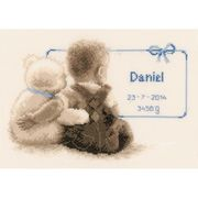 Vervaco Teddy Cuddle Birth Record Birth Sampler Cross Stitch Kit