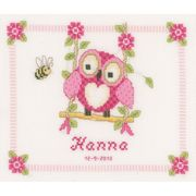 Vervaco Owl Birth Record Birth Sampler Cross Stitch Kit