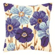 Blue Flowers Cushion - Vervaco Cross Stitch Kit