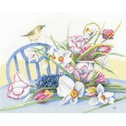 Lanarte Daffodils on Table - Aida Cross Stitch Kit