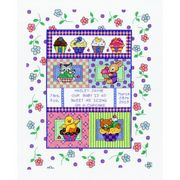 Janlynn Sweet as a Cupcake Birth Sampler Cross Stitch Kit