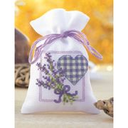 Vervaco Lavender Heart Bag Cross Stitch Kit