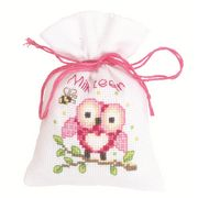 Vervaco Pink Owl Bag Cross Stitch Kit