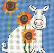 Pig and Sunflowers - Permin Cross Stitch Kit