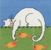 Cat and Fishes - Permin Cross Stitch Kit