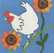 Permin Chicken and Sunflowers Cross Stitch Kit