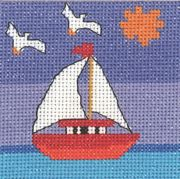 Yacht and Seagulls - Permin Cross Stitch Kit