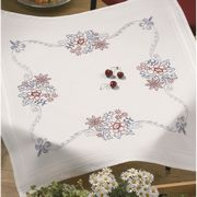 Permin Blue and Red Flowers Tablecloth Embroidery Kit