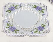 Lilac Hardanger Table Mat - Permin Embroidery Kit