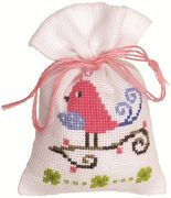 Pink Bird Bag - Vervaco Cross Stitch Kit