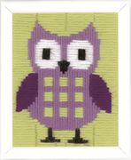 Purple Owl - Vervaco Long Stitch Kit