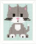 Vervaco Grey Kitty Long Stitch