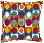 Colourful Circles Cushion - Vervaco Long Stitch Kit