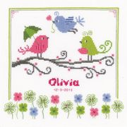 Vervaco Colourful Birds Birth Record Birth Sampler Cross Stitch Kit