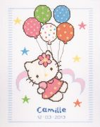 Vervaco Hello Kitty Balloons Birth Record Birth Sampler Cross Stitch