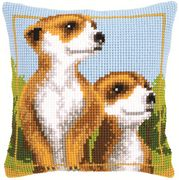 Meerkats Cushion - Vervaco Cross Stitch Kit