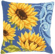 Vervaco Sunflowers on Blue Cushion Cross Stitch Kit